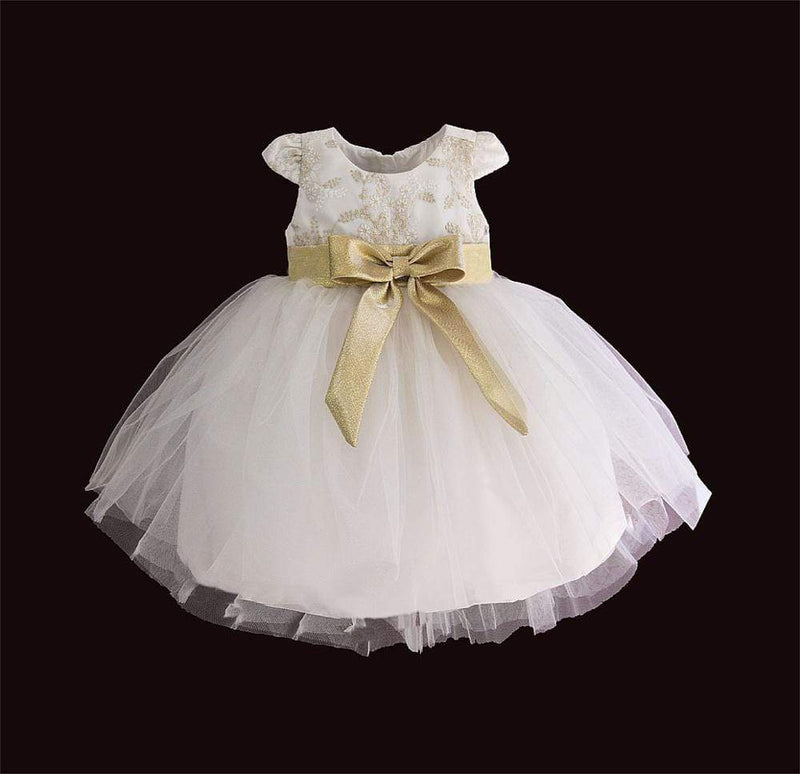 Baby & Kids Apparel Golden Lace Occasion Dress - Capped Sleeves -The Palm Beach Baby