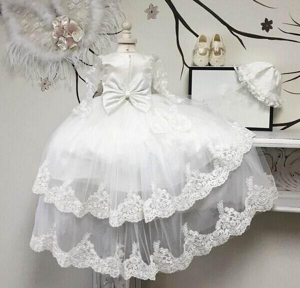 Heirloom Baby Lace Christening Gown With Headband (2 Colors) - The Palm Beach Baby