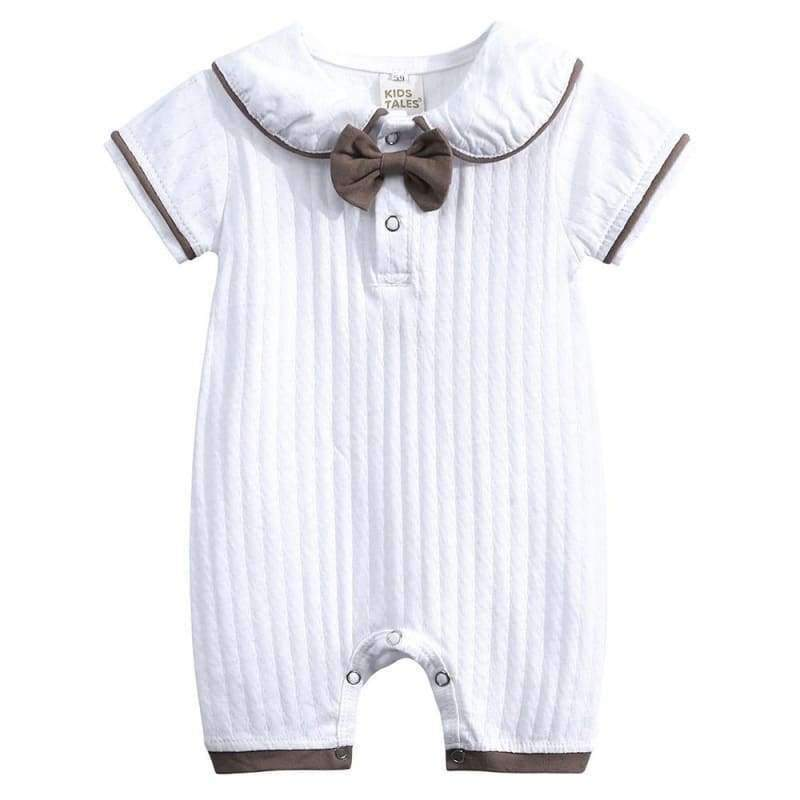 Peter Pan Collar White Romper With Bow Tie - the-palm-beach-baby.myshopify.com