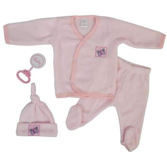 4 Piece Infant Fleece Set - Pink - The Palm Beach Baby