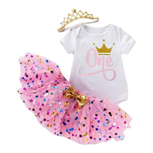 """Birthday Girl"" Polka Dot Tutu 3 PC Set (4 Designs) - The Palm Beach Baby"