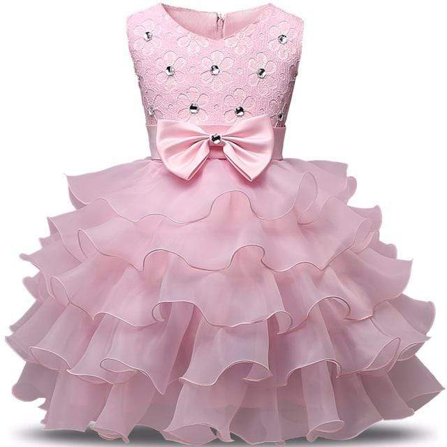"Baby & Kids Apparel Pink / 6M / United States The ""Patrice"" Pink Tiered Special Occasion Dress -The Palm Beach Baby"