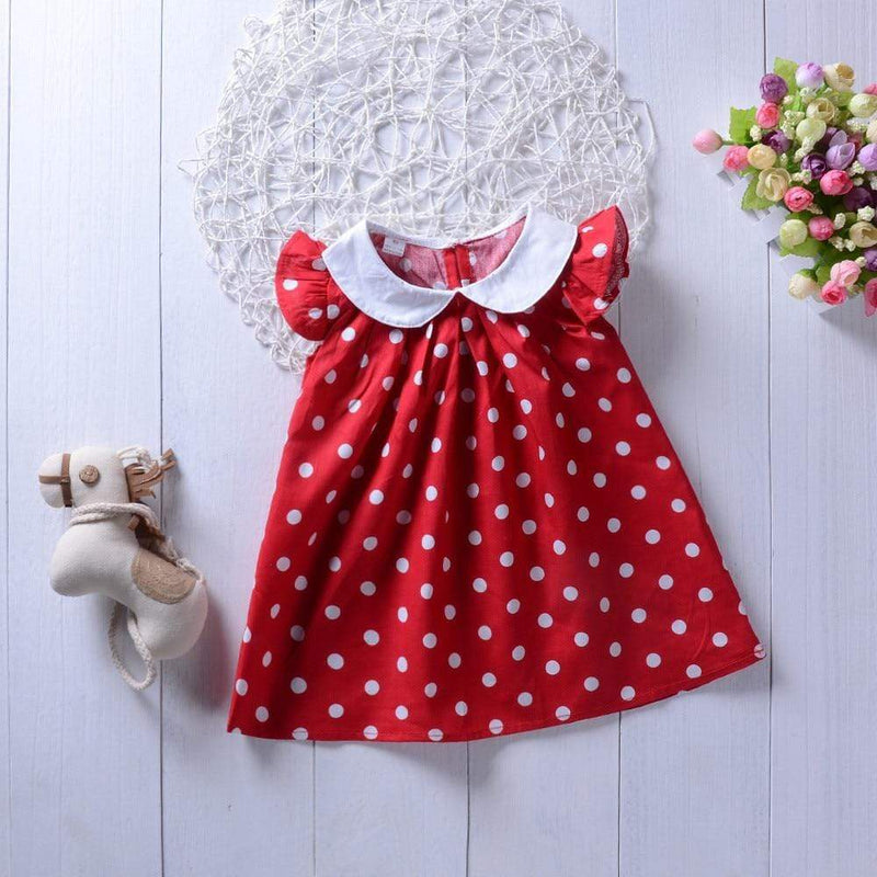 "Baby & Kids Apparel ""Polly"" Polka Dot Dress With Peter Pan Collar -The Palm Beach Baby"