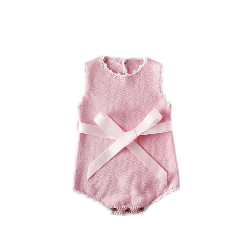 "Baby & Kids Apparel ""Pretty in Knit"" Baby Romper -The Palm Beach Baby"