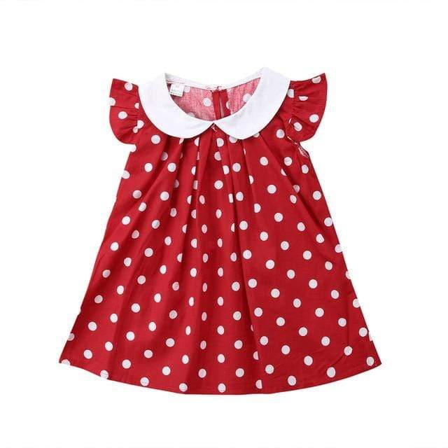 "Baby & Kids Apparel Red / 2T / United States ""Polly"" Polka Dot Dress With Peter Pan Collar -The Palm Beach Baby"