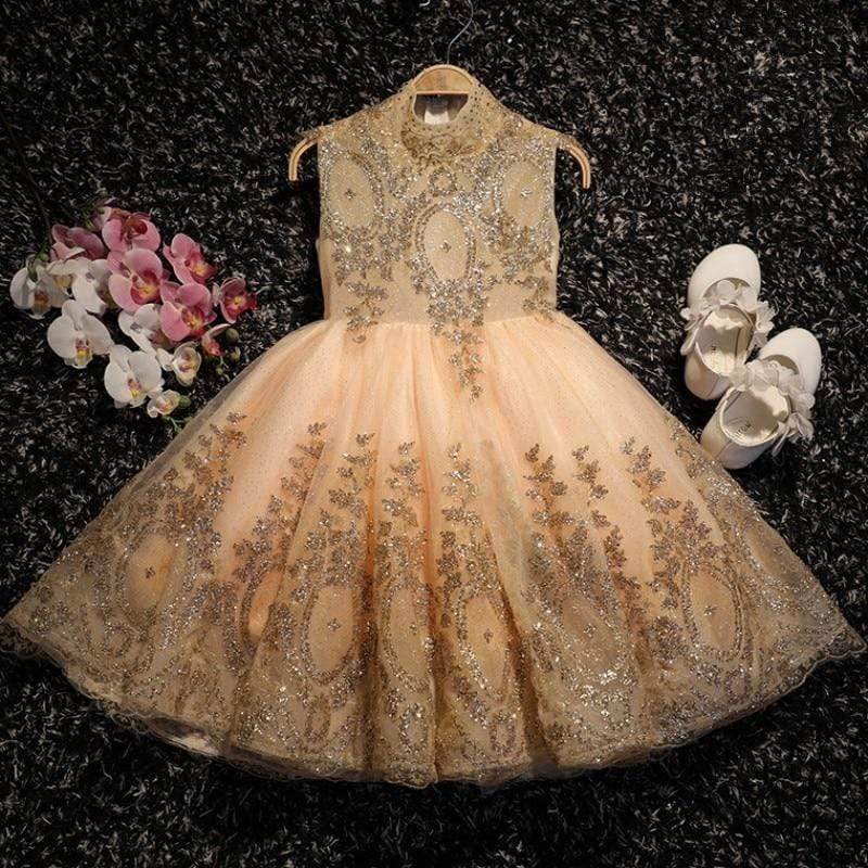 "Baby & Kids Apparel ""Regina"" Gold Tulle  Party Dress -The Palm Beach Baby"