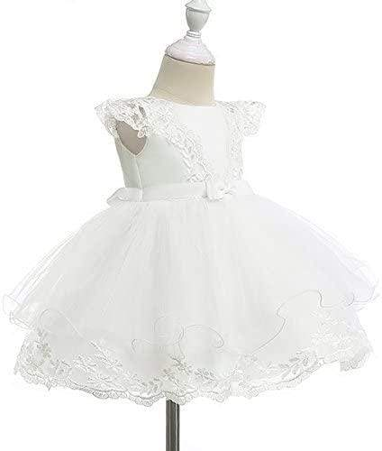 """Samantha"" White Lace Baptism Dress With Matching Headbow - The Palm Beach Baby"