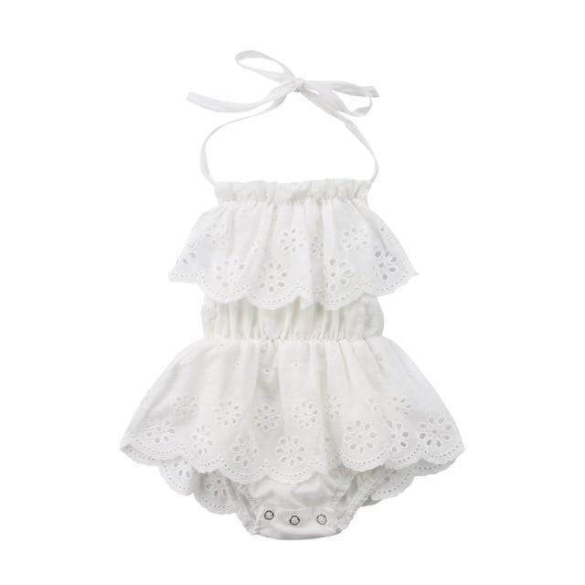"Baby & Kids Apparel The ""Chantilly"" Eyelet Lace Romper -The Palm Beach Baby"