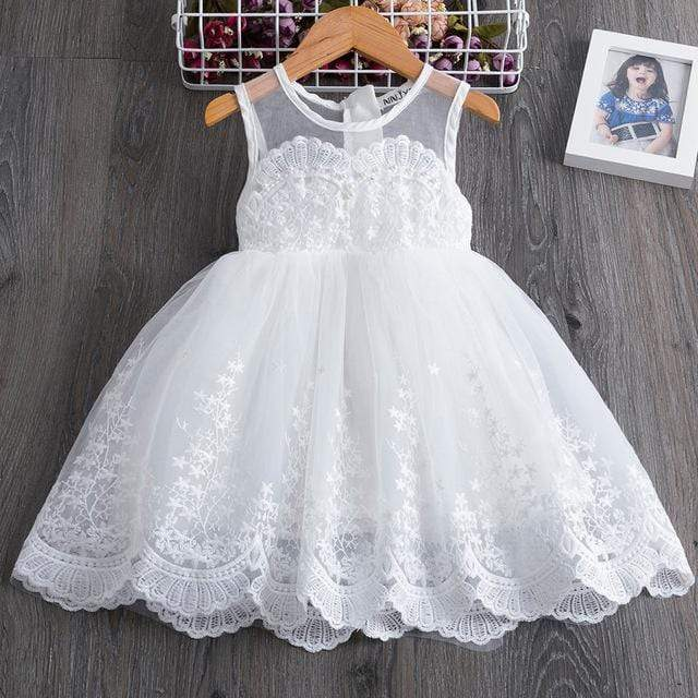 "Baby & Kids Apparel White / 130 / United States ""Marielle"" Lace Occasion Dress -The Palm Beach Baby"