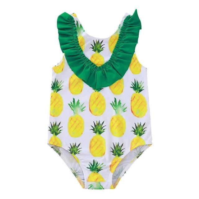 "Baby & Kids Apparel White / United States / 90 ""Pineapple Baby"" One Piece Swimsuit -The Palm Beach Baby"