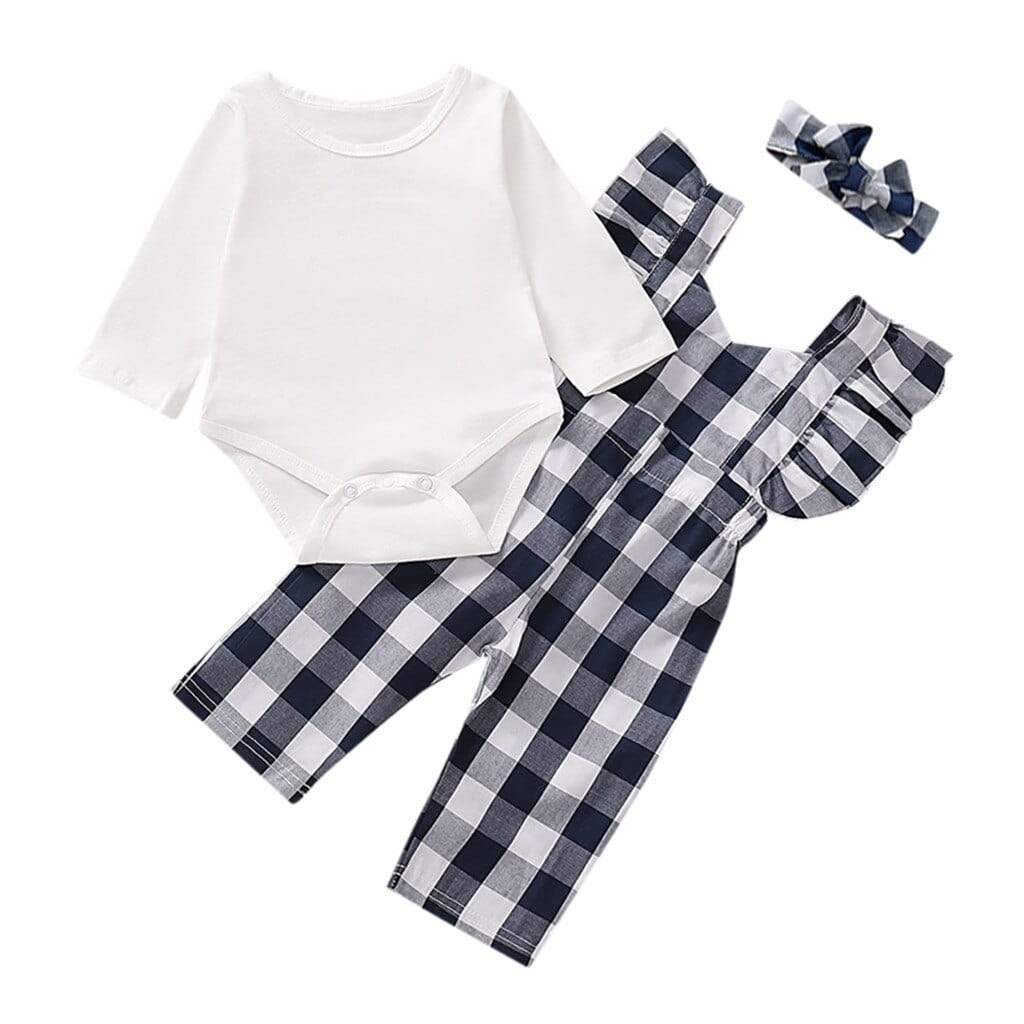 "3 PC ""Holly-Ann"" Check Jumpsuit + Romper - The Palm Beach Baby"