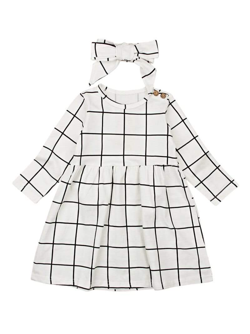 """Byrony"" Black and White Plaid Dress 2 PC Set - The Palm Beach Baby"