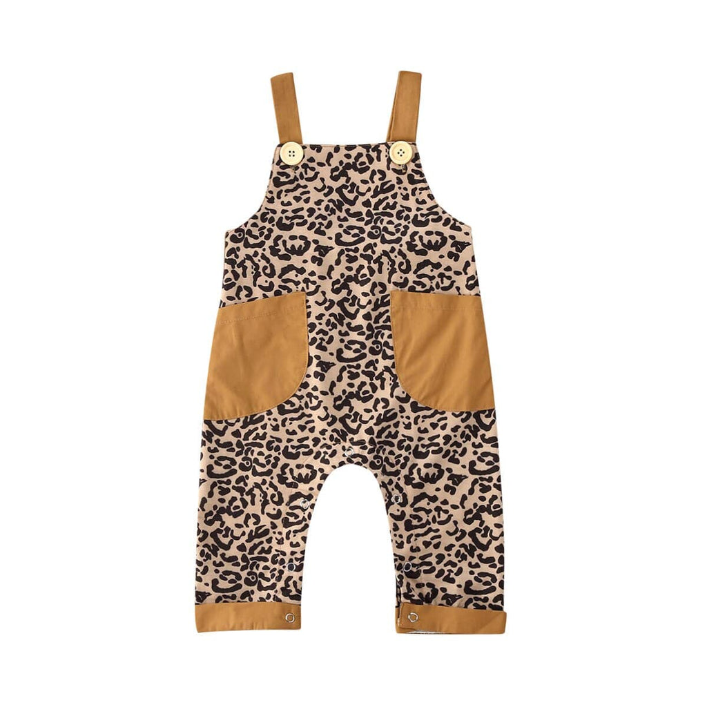 """Leopard Fun"" Leopard Print Overalls Jumpsuit - The Palm Beach Baby"