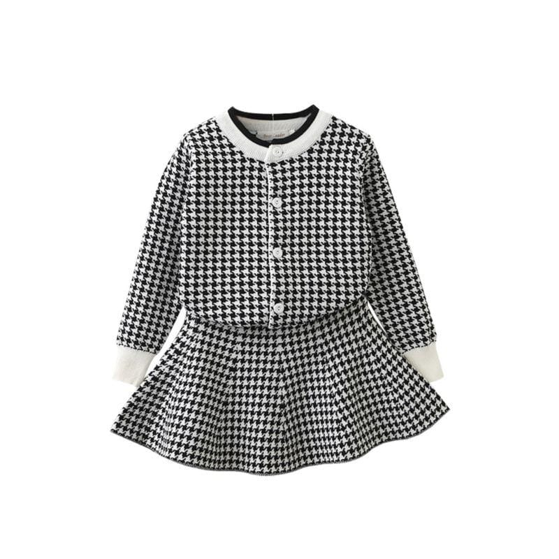 """Cassidy-Ann"" 2 PC Houndstooth Skirt Set - The Palm Beach Baby"
