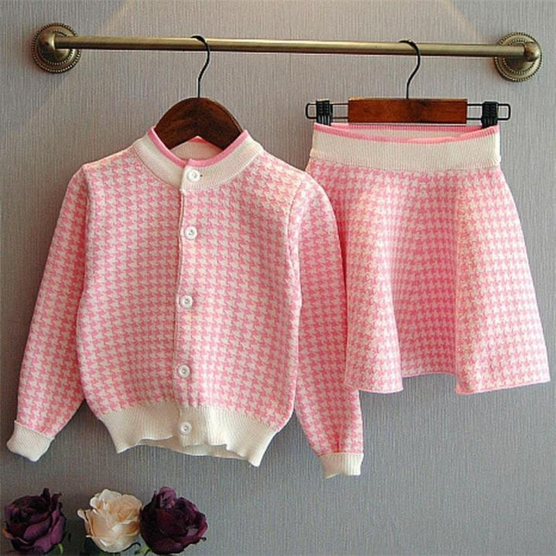 """Cassidy-Ann"" 2 PC Houndstooth Skirt Set - Pink - The Palm Beach Baby"