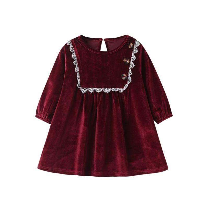 """Darlene"" Velvet Wine Red Party Dress - The Palm Beach Baby"