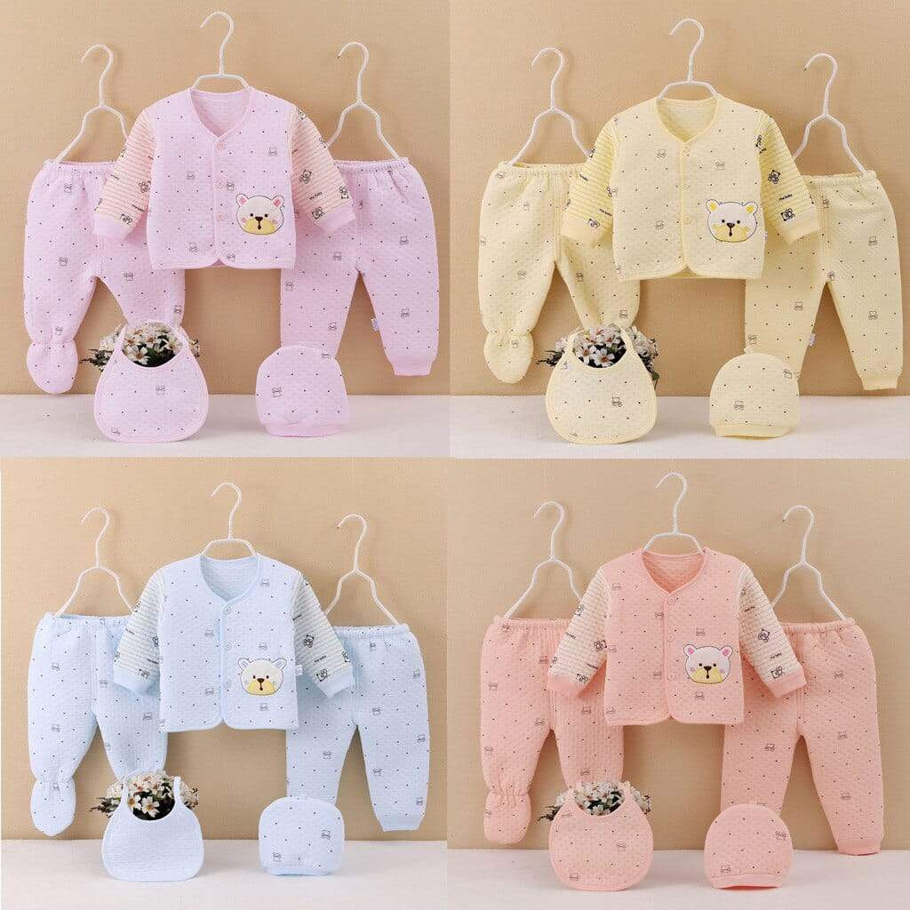 """Little Bea""r 5PC Newborn-3 Mos.Quilted Layette Set - The Palm Beach Baby"