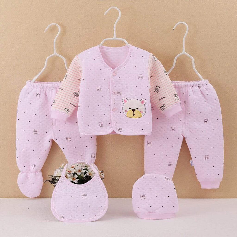 """Little Bear"" 5PC Newborn-3 Mos.Quilted Layette Set - The Palm Beach Baby"