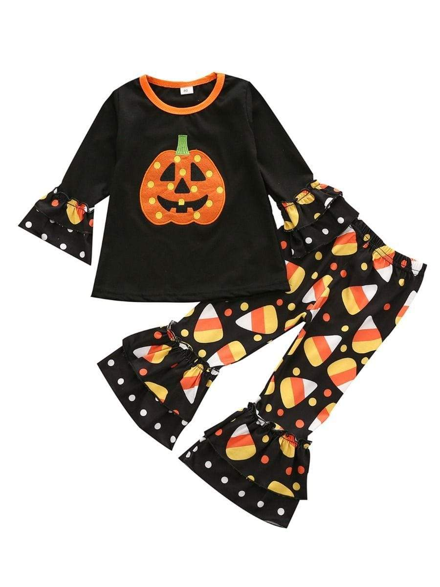 Little Girls Pumpkin-Themed Pant Set - The Palm Beach Baby