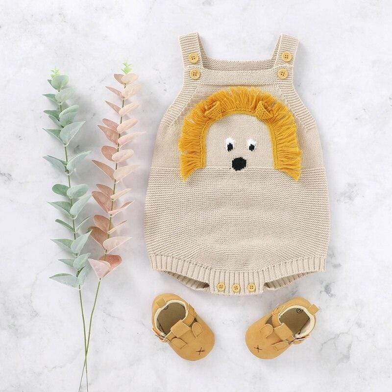 """Little Lion"" Knit Romper Overalls - The Palm Beach Baby"