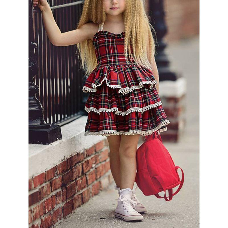 """Louisa"" Tiered Plaid Dress - The Palm Beach Baby"
