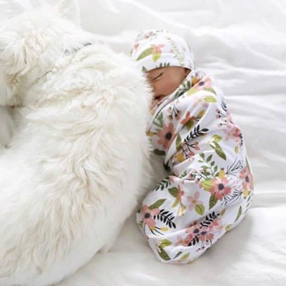 Newborn Infant Swaddle Sack With Cap - The Palm Beach Baby