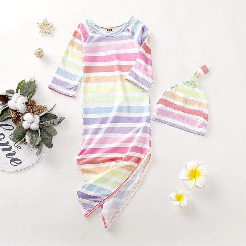 Infants 2 PC Rainbow Striped Sleeping Gown Set - The Palm Beach Baby