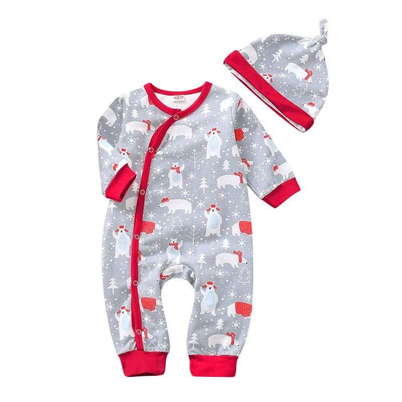 """Polar Bear Cutie"" Romper Jumpsuit Set - The Palm Beach Baby"