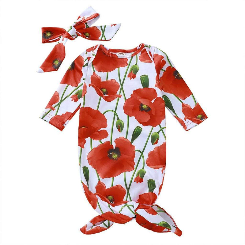"""Everything's Coming Up Poppies"" 2 PC Infants Sleeping Gown - The Palm Beach Baby"