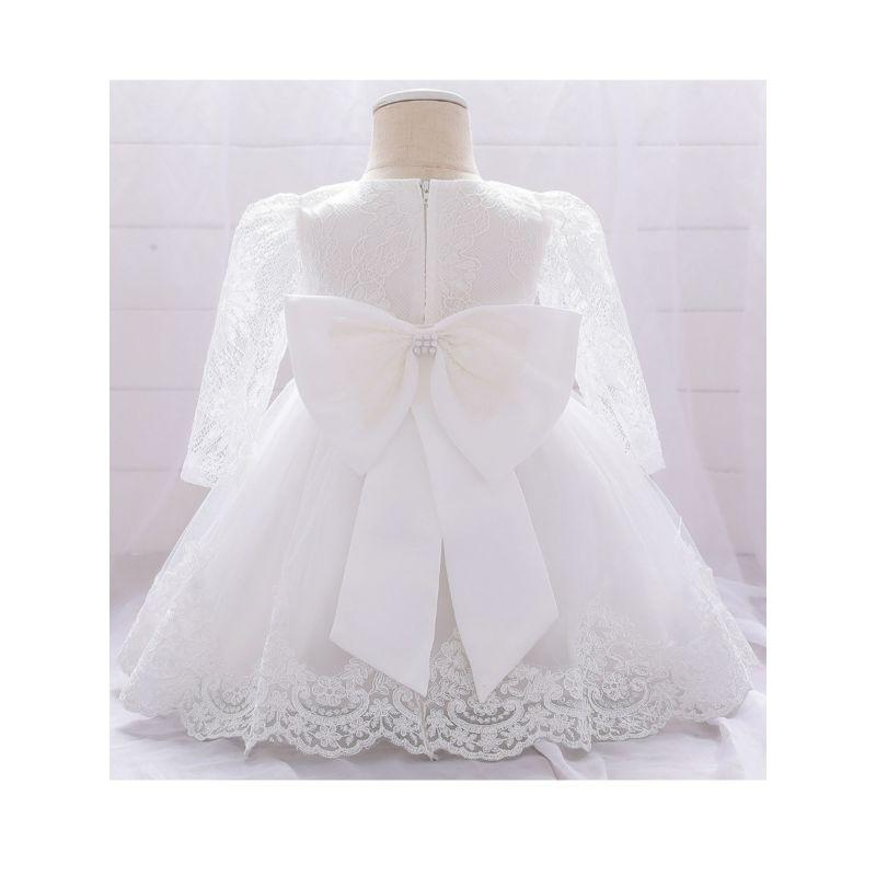 """Selena"" White Lace Pearl-Bows Dress - The Palm Beach Baby"