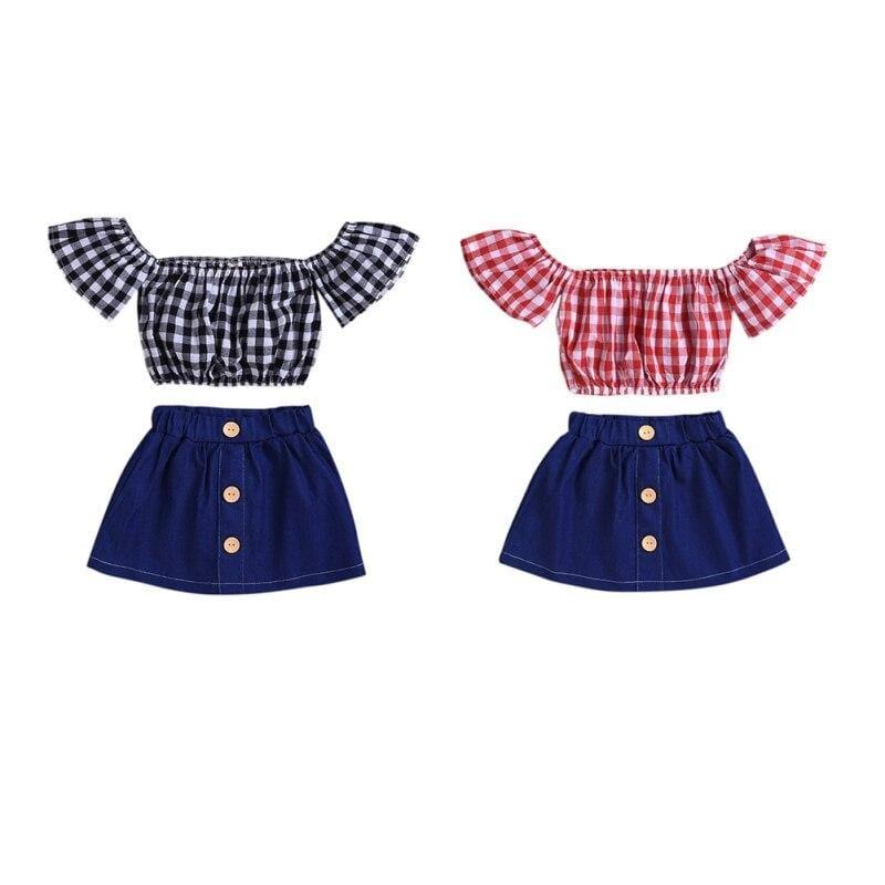 """Sue-Ellen"" Gingham And Denim Skirt Set -The Palm Beach Baby"