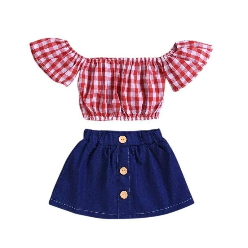 """Sue-Ellen"" 2 PC Gingham And Denim Skirt Set - The Palm Beach Baby"