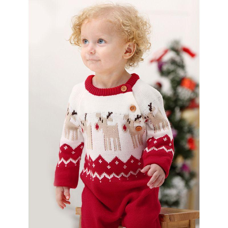 Winter-Themed Knit Romper Jumpsuit - The Palm Beach Baby