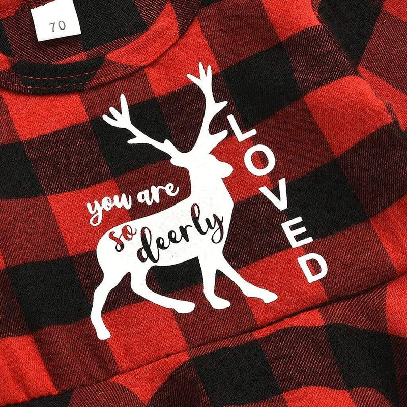 """You Are So Deerly Loved"" Plaid Dress Romper - The Palm Beach Baby"