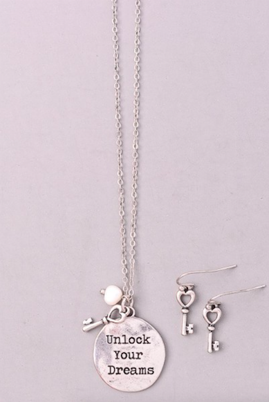 """Unlock Your Dreams"" SILVER Necklace and Earrings"