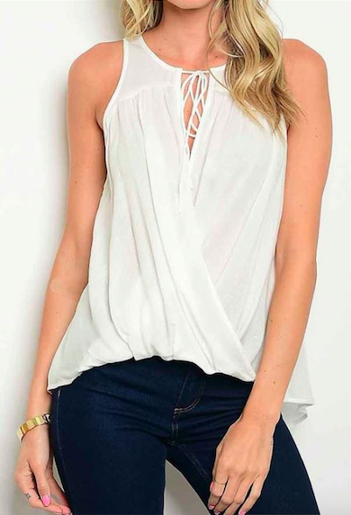 Front Neck Tie Surplice Blouse