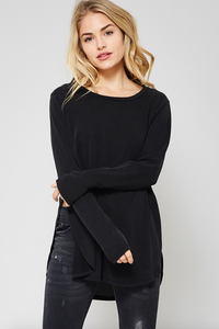 High Side Slit Long Sleeve BLACK (Color Options Available)