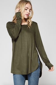 High Side Slit Long Sleeve OLIVE (Color Options Available)