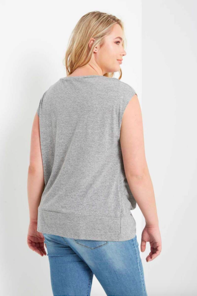 Plus Size Knot Front T-Shirt CHARCOAL (Color Options Available)