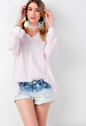 Lace Up Back Blouse APRICOT