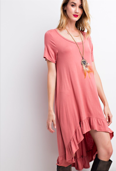 Effortless Light Tee Dress Brick