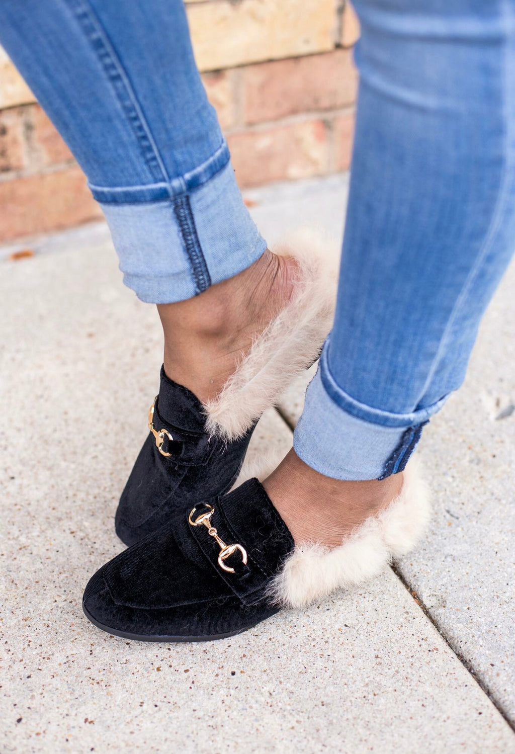 Fur Black Loafers