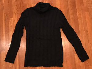 Cable Knit Cowl Neck Sweater Tunic BLACK