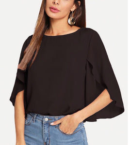 Slit Bell Sleeve Top BLACK