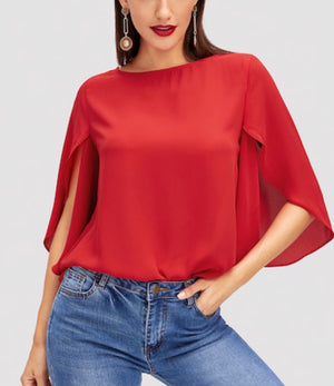 Slit Bell Sleeve Top RED