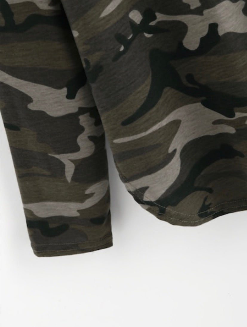 Camo Shirt Tail Hooded Top