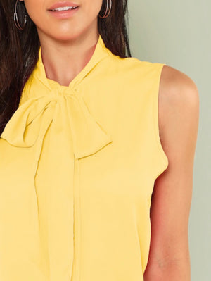 Tie Neck Sleeveless Solid Top YELLOW