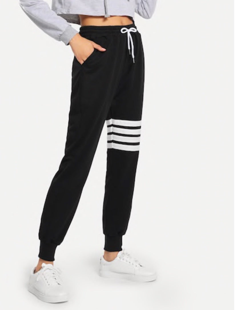 Drawstring White Stripe Detail Sweatpants