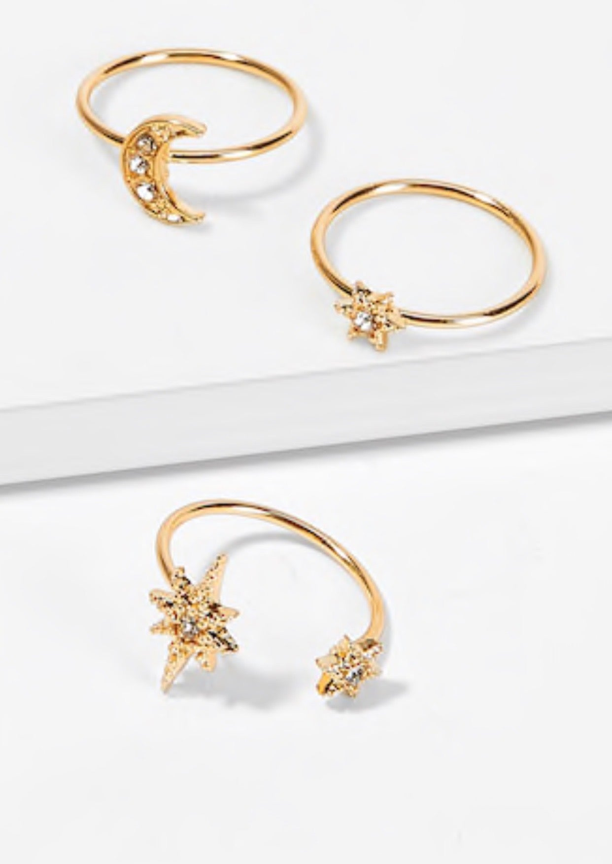 Star & Moon Ring Set 3pieces