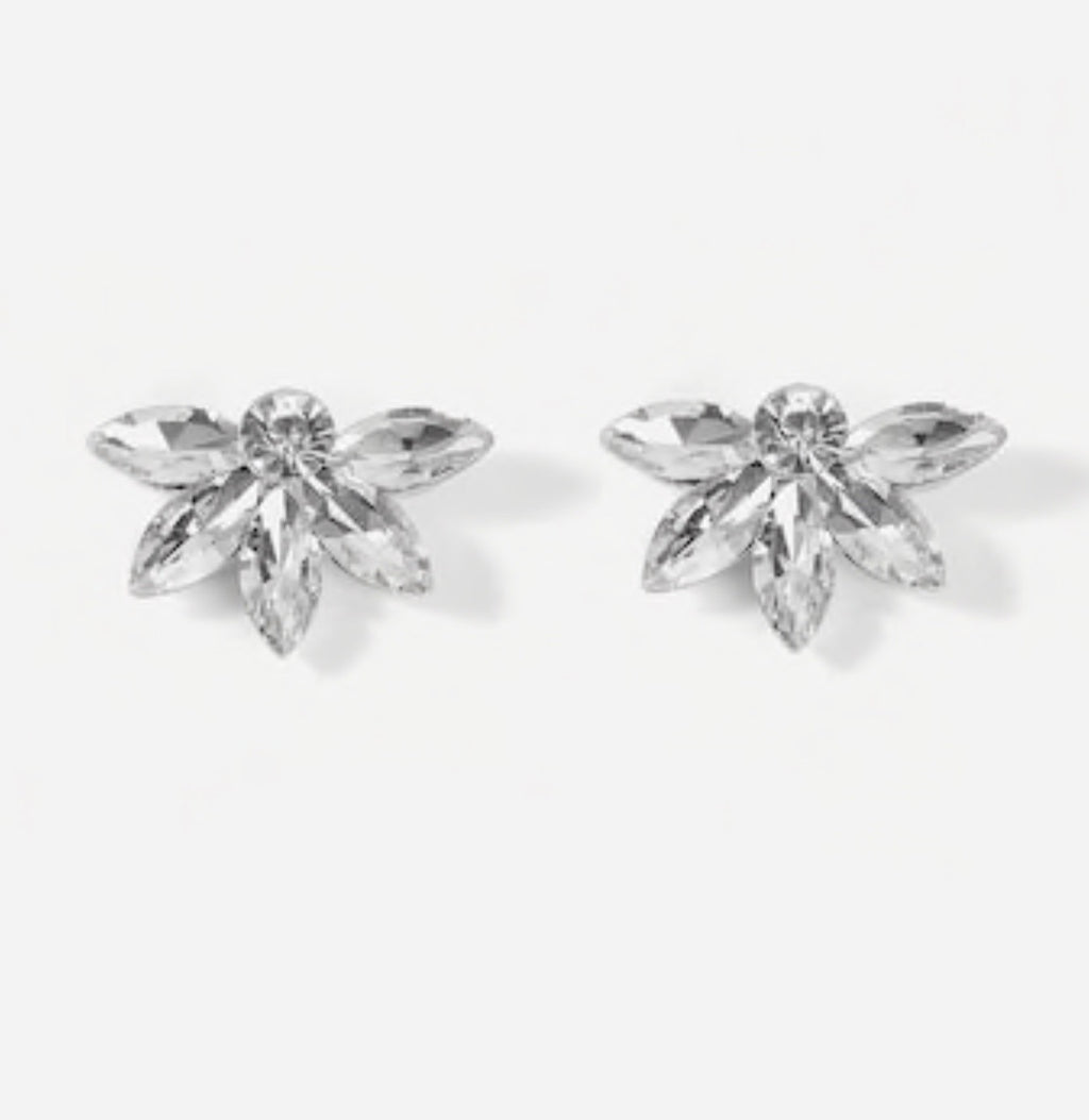 Flower Shaped Rhinestone Stud Earrings